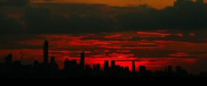 NEW YORK, NY - SEPTEMBER 01: Sunset over Manhattan on Day Eight of the 2014 US Open at the USTA Billie Jean King National Tennis Center on September 1, 2014 in the Flushing neighborhood of the Queens borough of New York City. (Photo by Julian Finney/Getty Images)