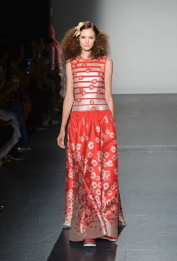 Mandatory Credit: Photo by Andrea Hanks/WWD/REX/Shutterstock (5895809ay) Model on the catwalk Carmen Marc Valvo show, Runway, Spring Summer 2017, New York Fashion Week, USA - 11 Sep 2016