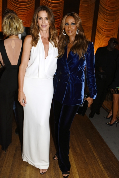 Mandatory Credit: Photo by Nina Westervelt/WWD/REX/Shutterstock (5893825k) Cindy Crawford and Iman Tom Ford cocktail party, Spring Summer 2017, New York Fashion Week, USA - 07 Sep 2016