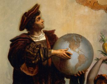 ITALY - JULY 18: Christopher Columbus (1451-1506), detail from Allegory on Charles V of Habsburg (1500-1558) as Ruler of the world, painting by Peter Johann Nepomuk Geiger (1805-1880), Throne Room, Miramare castle, Trieste, Friuli-Venezia Giulia, Italy. (Photo by DeAgostini/Getty Images)